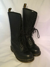 Doc Marten 20 Eyelet Combat Boots Mens Size 6 Black Leather High Airwair Punk Dr