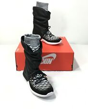 free shipping 71f1e 5174a  225 Nike W Roshe Two Hi Flyknit Women s 6 Black White Leather Hi Top Shoes
