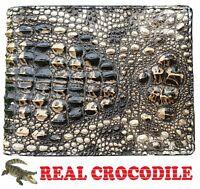 Unique Genuine Alligator Crocodile Skin Leather Mens Minimalist Bifold Wallet