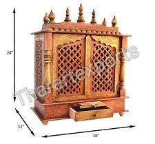 Wooden Handcrafted Hindu Temple Pooja Ghar Mandir Mandapam For Worship JS12