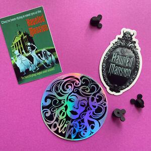 3 vinyl STICKER SET Disney Haunted Mansion - Hitchhiking Ghosts, Leota & HM Sign