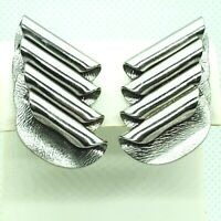 Clip On Earrings Circle Folded Layered Curl Silver Tone Statement Rare Vintage