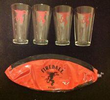 Lot Fireball Cinnamon Whisky Glasses Beach Ball Bar Red Dragon Logo Picnic Party