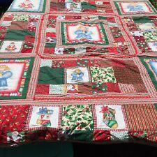 "Christmas Quilt 85"" x 90"" Snowman Angel Gingerbread Red Green"