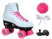 Epic Cheerleader White & Pink High-Top Quad Roller Skates