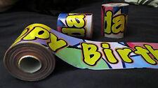 12 x 25 M METRI Happy Birthday Striscioni su Nuovo di Zecca un rotolo di Plastica Festa