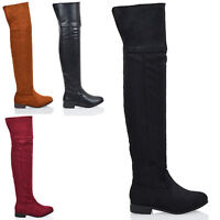 New Womens Over The Knee High Ladies Cut Out Flat Riding Thigh High Boots