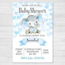 Personalised Baby Shower Invitations, 10 with Envelopes, Boy, Blue, Elephant