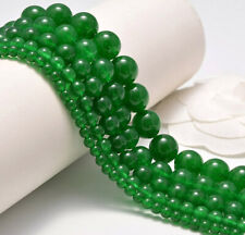 Natural Malay Green Jade Smooth Round Loose Beads 15