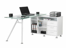 Alphason Office New Haven Clear Glass Modern Desk Workcentre AW13366A-CL