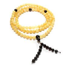 Genuine Baltic Amber Buddhist Mala Bracelet Mila 108 Beads Prayer Butter