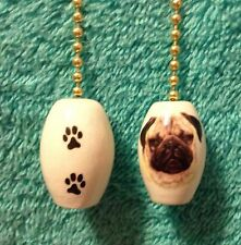 One Pug Dog Fan Pull With Paw Prints On The Back 1""