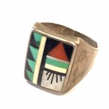 Mens Vtg Sterling Silver Andrew Dewa ZUNI Marked AD Ring Size 10 Native American