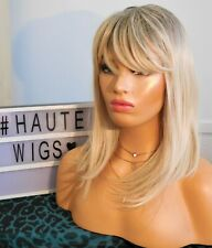 """16"""" SHORT ASH LIGHT BLONDE WIG HAIR WITH FRINGE / BANGS NEW REALISTIC FINE SILKY"""