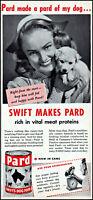 1947 Girl & puppy dog Pard Swift's dog food vintage photo print ad ads63