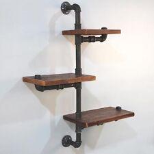 3 Level Rustic Industrial DIY Pipe Shelf Adjustable Bookshelf Wall Mount