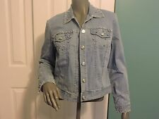 City Girl by Nancy Bolen Beaded Embellished Blue Jean Jacket Coat Size Small EUC