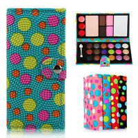 Makeup Cosmetic Wallet Case Set Eyeshadow Blusher Powder Palette & Brush Mirror