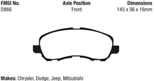 EBC Yellowstuff 4000 Brake Pad Set Front for Chrysler Dodge Jeep Mitsubishi