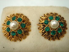 BOUCLES D'OREILLES STRASS VERT ET PERLE VINTAGE 50 NEUF/OLD NEW PEARL EARRINGS