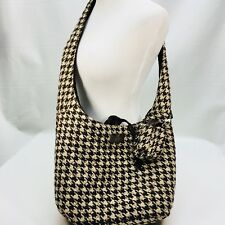 "Longaberger Tote Handbag Plaid Camel Brown Ivory 22"" Long Strap Drop 12""W x4""x11"