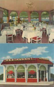 Chimes Restaurant roadside St Augustine Florida Teich linen Postcard 21-194