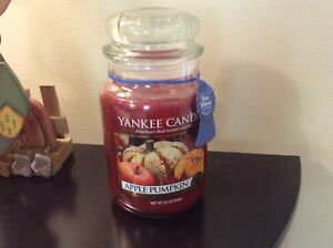 New Retired Yankee Candle Apple Pumpkin 22 oz Blue Ribbon Limited