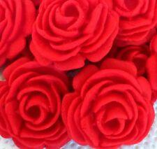 12 Rosas Rojas Comestibles Azúcar Para Decoración De Pasteles Cupcakes Topper aniversario de bodas Bi