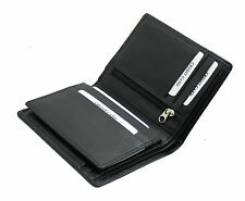 NEW Woodbridge London Mens Leather Wallet Purse With Zip Coin Pocket 4005-BLACK