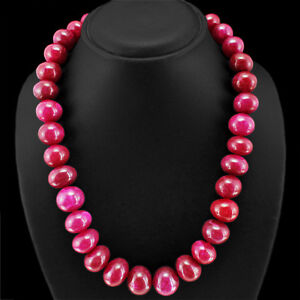TOP MARVELLOUS 966.50 CTS EARTH MINED RED RUBY ROUND BEAD NECKLACE STRAND (DG)