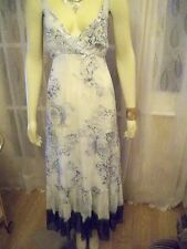 TOGETHER BLUE PRINT FRILL BOTTOM GEORGETTE  MAXI DRESS SZE 10,, CLEARANCE