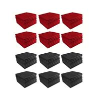 Acoustic Foam 96 pack Red + Charcoal Gray Pyramid Studio 12x12x1 soundproof tile