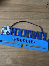 Wooden Personalised Medal Hanger / Holder FREDDIE Blue