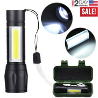 Portable XPE COB LED 3 Modes Mini USB Rechargeable Flashlight Torch Zoom Lamp