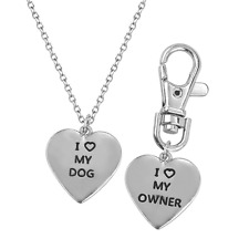 Lux Accessories I <3 Love My Dog Owner Best Friends BFF Pendant Necklace Matchi