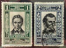 Ecuador Scott # 313 (mint hinged) and 314 (used) 1930
