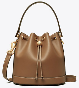 Tory Burch T Monogram Leather Bucket Bag Moose Tan Midnight New Authentic