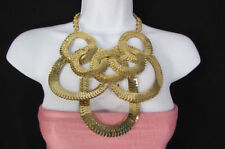 New Women Gold Metal Rings Fashion Necklace Chunky Chains Geometric Pendant