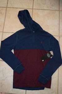 NWT Boy's Volcom Murphy Thermal Navy & Burgundy Hooded LS Shirt sz M (10-12)