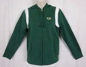 """Green Bay Packers Full Zip Hoodie By Reebok ~Embroidered """"G""""~ Women's size Small"""