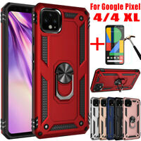 For Google Pixel 4/4 XL Shockproof Magnetic Ring Stand Case Cover+Tempered Glass