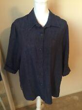 Monterey Bay Womans 3/4 Sleeve Button Up  Blue Denim Weave Shirt Jacket