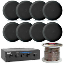 """8) Pyle Audio 5.25"""" Home Stereo Ceiling/Wall Speakers, 4 Ch. Selector 100Ft wire"""