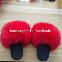 Red - Max Large XXL Real Fox Fur Slides Slippers Sandals Shoes Sliders