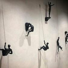 1X Kreative Klettern Mann Harz Eisendraht Wandbehang Dekoration Skulptur Figuren