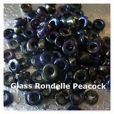 200 Czech Glass Rondelle Beads Peacock Spacer Beads 6mm - 7mm