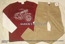 NWT Gymboree Boys 12 Red Motorcycle T-Shirt & Khaki Corduroy Pants Outfit Set
