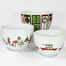 "Crate & Barrel YULE TOWN Nesting Bowl Set 3Pc 6"" Door 5"" Tree 4"" Car Christmas"