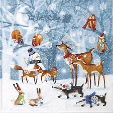 TOVAGLIOLI di carta 4x-scena di Foresta Invernale-per feste, Decoupage CRAFT