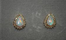 Estate 14K Y Gold Pear Shape Opal & Round Diamonds Post Earrings